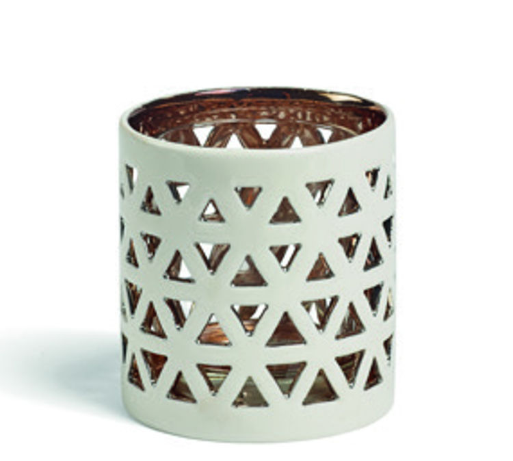 Image de Belmont Lattice Ceramic Metal  TL/Votive Holder H66xB71xT71mm