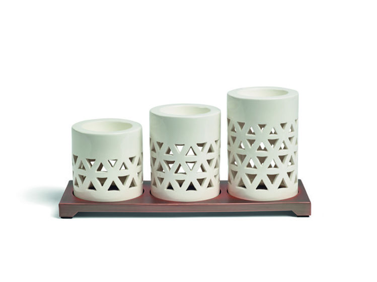 Bild von Belmont Lattice Ceramic Metal  Multi Tealight H96xB228xT83mm