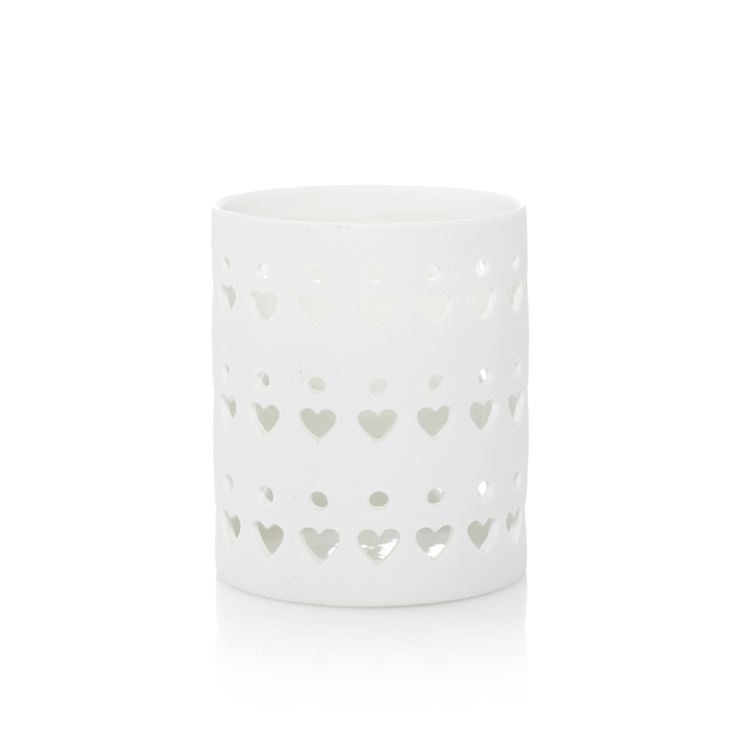Bild von Petite Candle Holder White Heart Ceramic