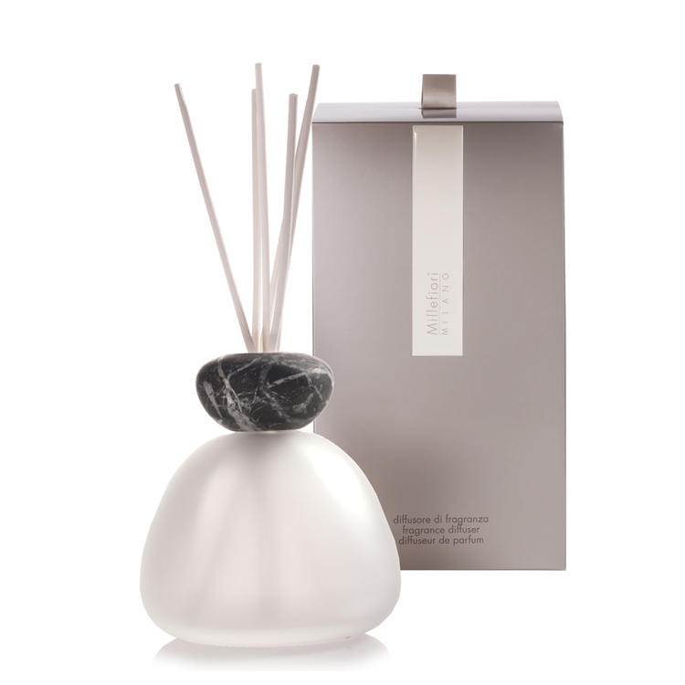 Image de Marble Glass Diffuser Frosted Black Cap